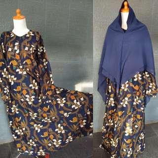 Gamis syar'i batik payung navy bunga jalar