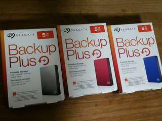 """Seagate 5TB Portable External HDD Hard Disk Drive Backup Plus 5.0 TB external 2.5"""" Portable  Brand New Never Used, local warranty till June 2020.  USB 3.0."""