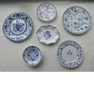Vintage Plates Cobalt blue / Blue and White