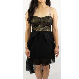 Material Girl Corset Layered Frill Black Gold Embroidered Dress