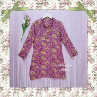 LAST STOK SALE !!! Rp. 25.000 an Atasan wanita Tunik Muslim Floral Flowery Soft Pink Fanta baju muslim muslimah syari gamis long kemeja long tunik