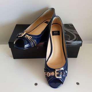 L&J - Ladies Genuine Patent Leather Blue Pumps Shoes Dark Blue – Size 7 Women's