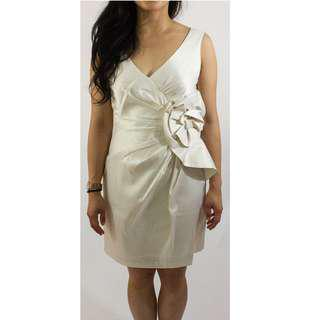 Max and Cleo White Silk Rose Origami Dress