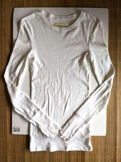 GIVEFREE RM60 | PRELOVED women's plain white long sleeves cotton t-shirt top - in good condition
