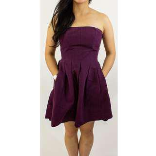 Rebecca Taylor Plum Fabric Tube Dress with wiring to keep form