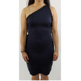 TopShop Navy Blue Pencil Dress with Sheer Lining attached to seam
