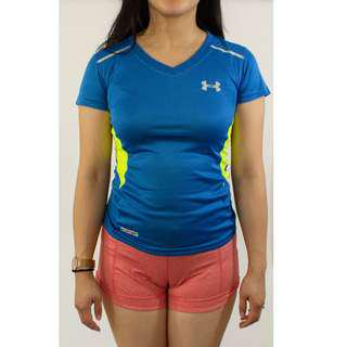 Under Armour Blue and Yellow workout tee