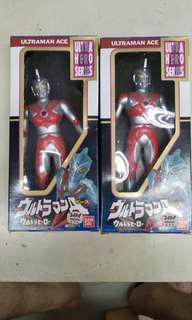 中古 Bandai UHS 17cm 1988年Ultraman Ace咸旦鹹蛋超人軟膠二隻
