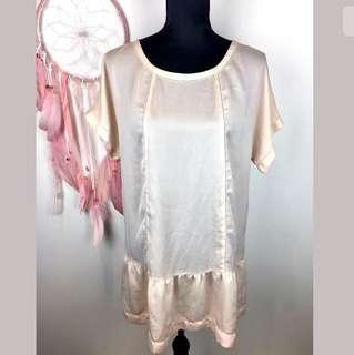 Country Road sz L soft pink blush women top blouse shirt tunic dress semi sheer
