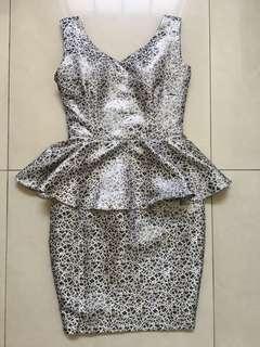 Silver jaquard bustier dress