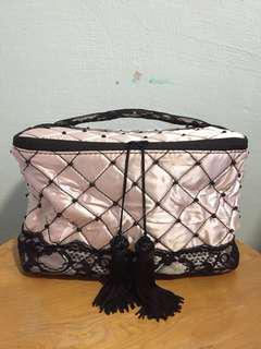 New Aimer Pink with Black Lace Cosmetics Pouch / Bra Case