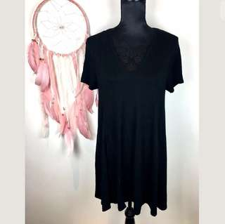ZARA sz M/L black basic women dress tunic flowy loose fit stretch comfy solid