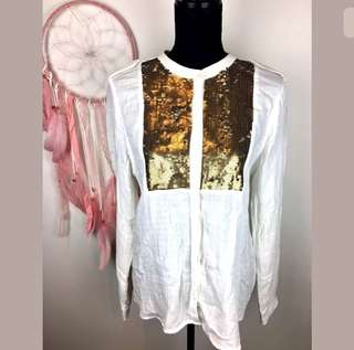 Country Road sz M/L white gold sequins women top shirt tunic cotton work career
