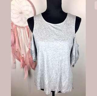 Witchery sz M grey women top shirt cold shoulder laser cut short sleeves basic