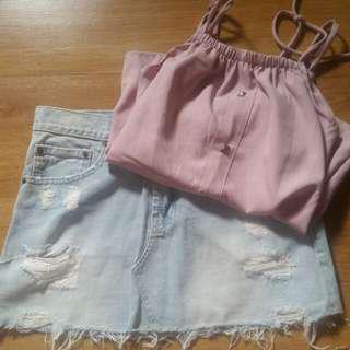 SALE! Denim skirt & top