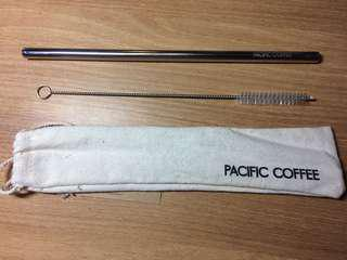 Pacific Coffee stainless straw