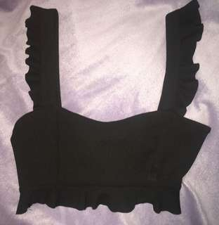 BLACK CUTE CROP TOP