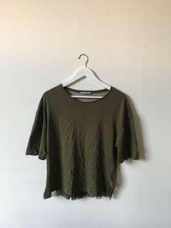 Khaki t-shirt with a see though back
