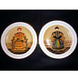 八十年代 景德鎮 柴窯 手工手繪 琺瑯彩 大清光緒帝后畫像瓷盤