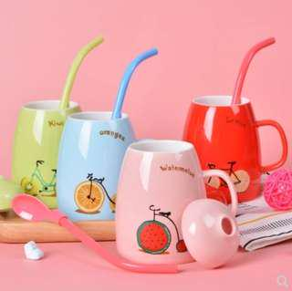 Cute Artistic Colorful Coffee / Milk / Water Mug with lid and straw