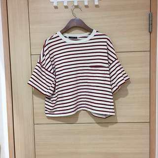 🚚 ✨降✨二手Pazzo 台灣製純棉紅*米白條紋上衣
