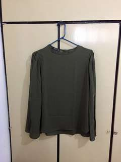 Mango Formal Olive Green Top