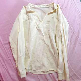 🚚 pastel yellow v neck blouse