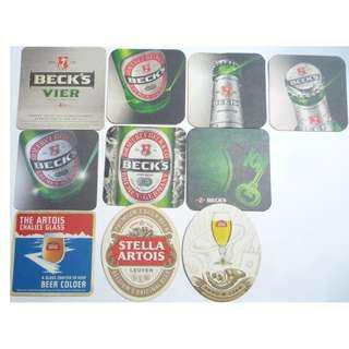 BECK'S GERMAN + STELLA ARTOIS BELGIUM BEER MAT COASTER Collect DRIP MAT 2006-2012