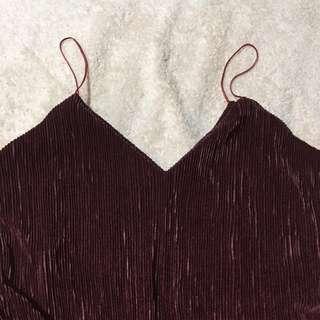 Red Velvet Pleated Cami String Top