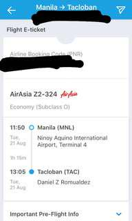 MNL-TAC ONE WAY PLANE TICKET RUSH