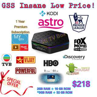 🚚 3gb ram 32gb rom with one year subscription  Most Latest Android Nougat 7.1 S912 Chip , Greatever T95Z Plus TV Box