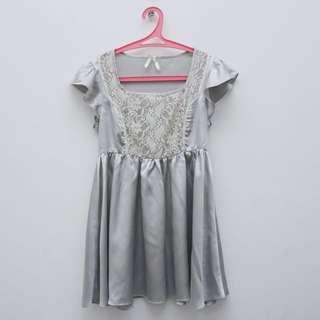 Mini Dress Satin Silver