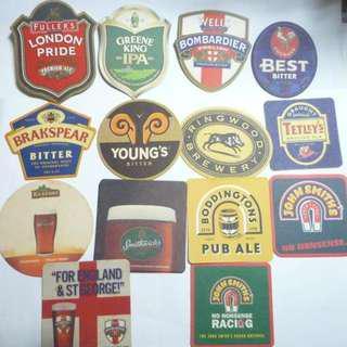 ENGLAND UK BEER MAT COASTER London Pride Kilkenny Young's John Smith Tetleys Collect DRIP MAT
