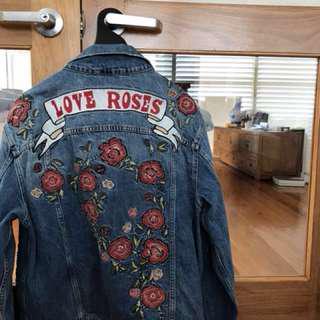 Zara Love Rose Denim Jacket