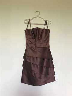 BCBG Brown Strapless Cocktail Dress