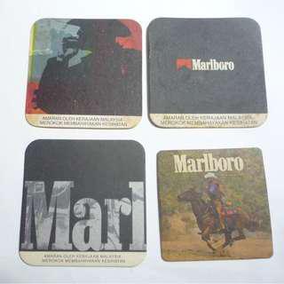 Vintage Compressed card COASTERS MARLBORO Cigarettes Malaysia Edition Advertising