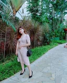 White Love Pattern Dress / dress import