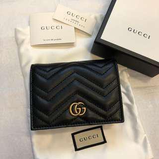 正全新Gucci marmont 黑色短夾(可當零錢包名片夾中夾