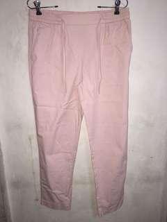 Zara pink drawstring crop pants large