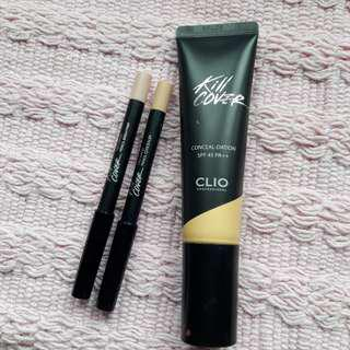 Authentic Clio Kill Cover Foundation + Never Used Concealer & Highlighter