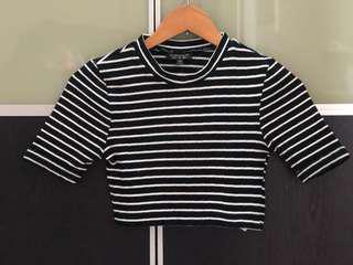 Pre loved crop top Topshop black white stripe XS