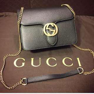 🚚 全新正品 Gucci Marmont 荔枝皮雙G logo 包