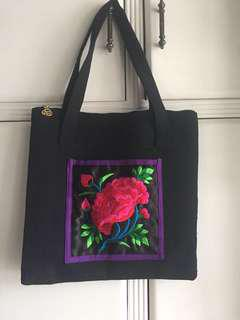 Embroidered Floral Canvas Bag