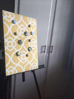 Yellow Printed Magnet Fabric Board