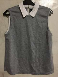 Plains and prints gray sleeveless polo casual top