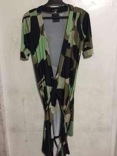 Geometric Green wrap around jersey dress