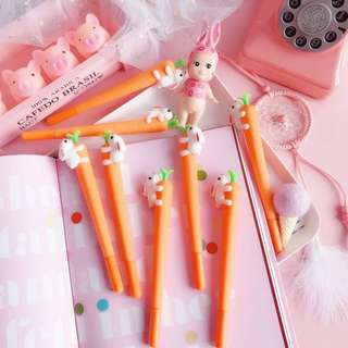 Instocks Rabbit Carrot Cute Gel Pens Stationeries