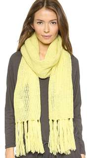 DKNY yellow lime fringe scarf