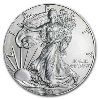 (多買有折) 現貨 包速遞 2011美國鷹揚.999銀幣1盎司 收藏投資首選 全新密封包裝 silver eagle