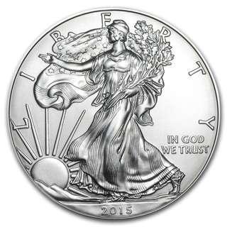 現貨  2015 美國鷹揚 .999銀幣1盎司 收藏投資 全新密封包裝 silver eagle 包速遞